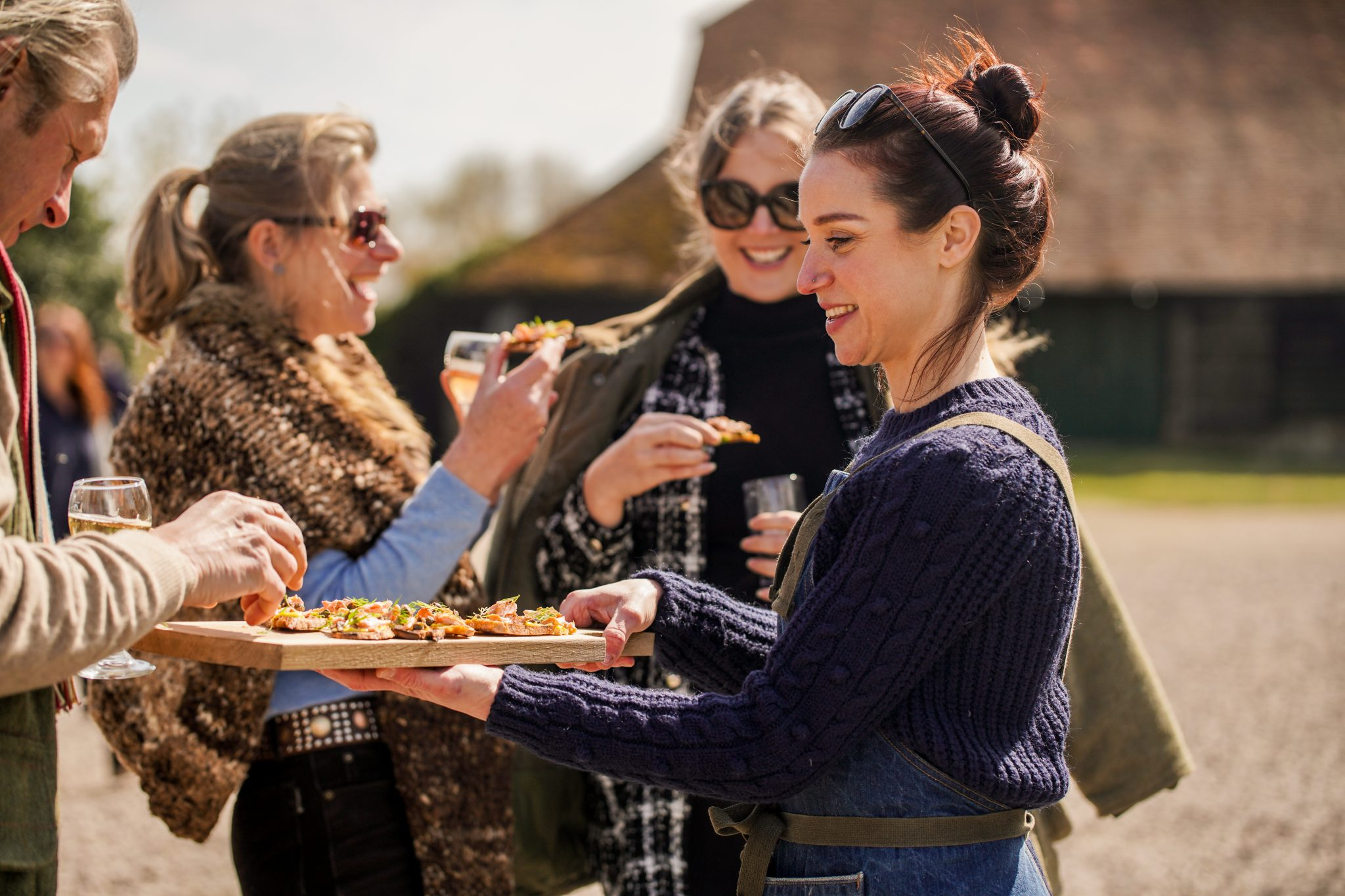 Outdoor dining wood fire cooking feast events, vineyard dining experience